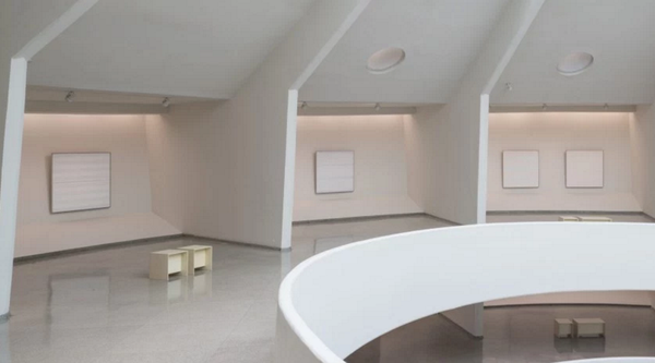 Installation of Agnes Martin paintings at the Guggenheim Museum, New Yrok