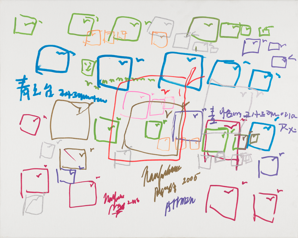 Colorful ink drawing of overlapping boxes of different sizes with checkmarks