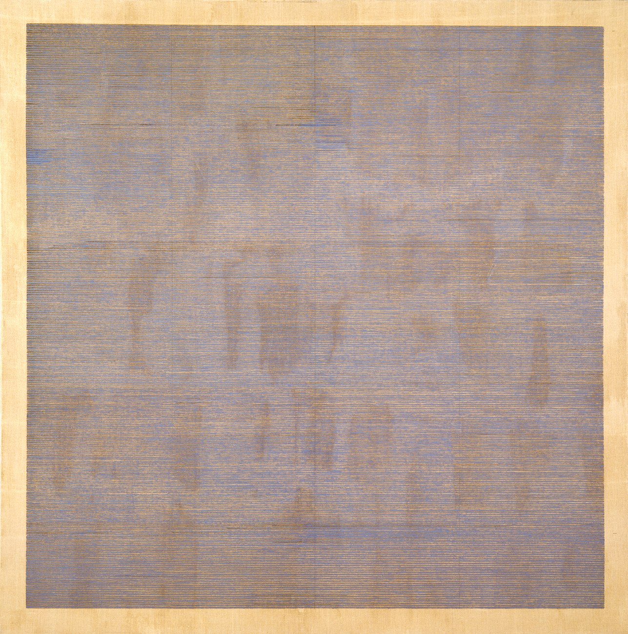 A subtle grid of mostly horizontal blue and brown lines on a yellowish background