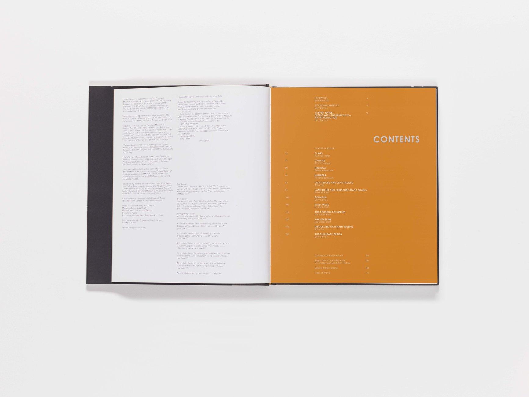Jasper Johns publication table of contents