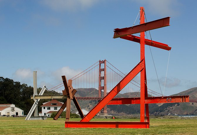 Mark di Suvero, two steel sculptures in front of golden gate bridge