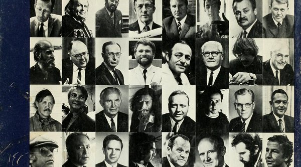 A black and white photograph album grid of Caucasian men, Rauschenberg
