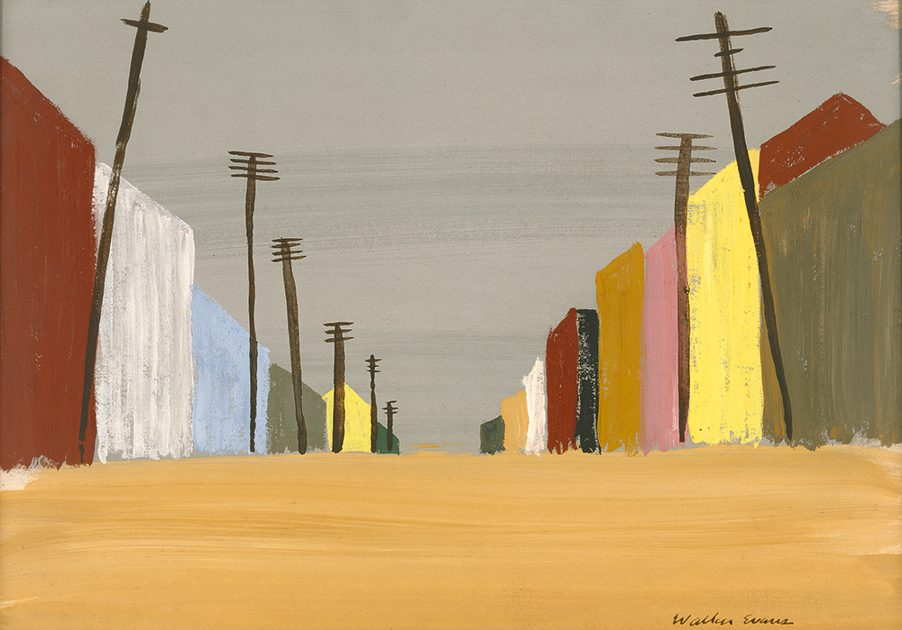 A simple painting on a deserted brown road extending toward the horizon and surrounded on either side by electrical poles and building fronts