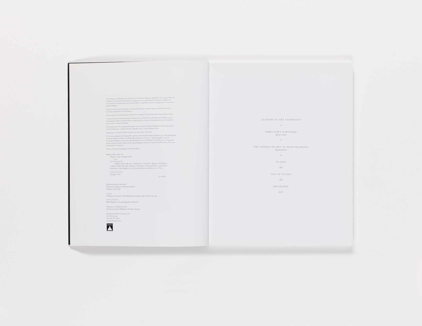 Magritte publication table of contents