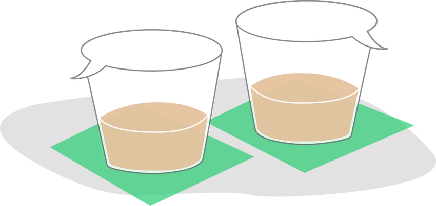 Illustration of two cups that double as a speech bubble