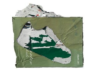 Mark Bradford, green cloth with shoe shape cut-out