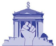A logo featuring a traditional museum building superimposed with a clenched fist