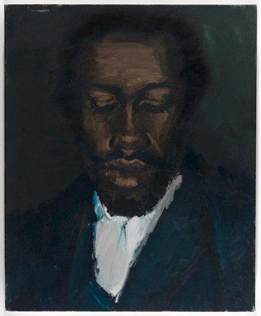 Lynette Yiadom-Boakye, painted portrait of man looking down