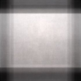 Overlapping vertical and horizontal rectangles of light, forming one very light square where they overlap