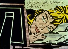 Roy Lichtenstein, Good Morning Darling, animated woman with thought bubble