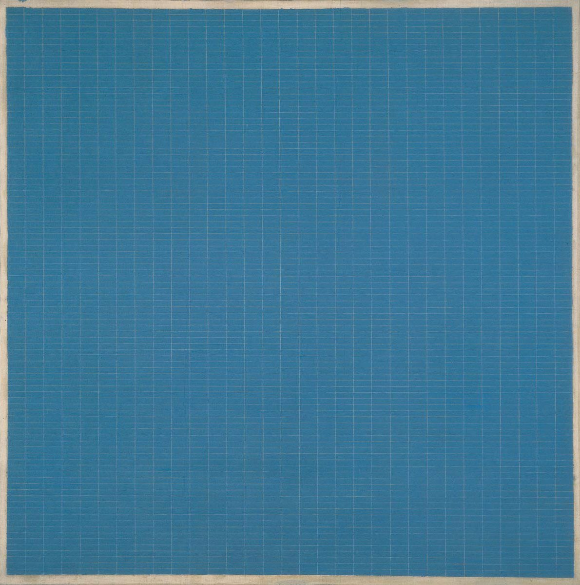 Square blue field covered with a grid of thin white lines