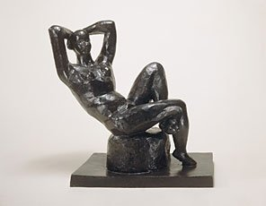 Matisse, sculpture of woman reclining nude on seat