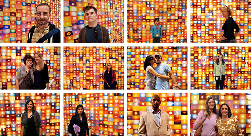 a grid of images of people posing in front of Penelope Umbrico's Sunsest