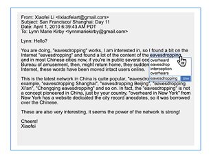 Lynn Marie Kirby and Li Xiaofei email screenshot