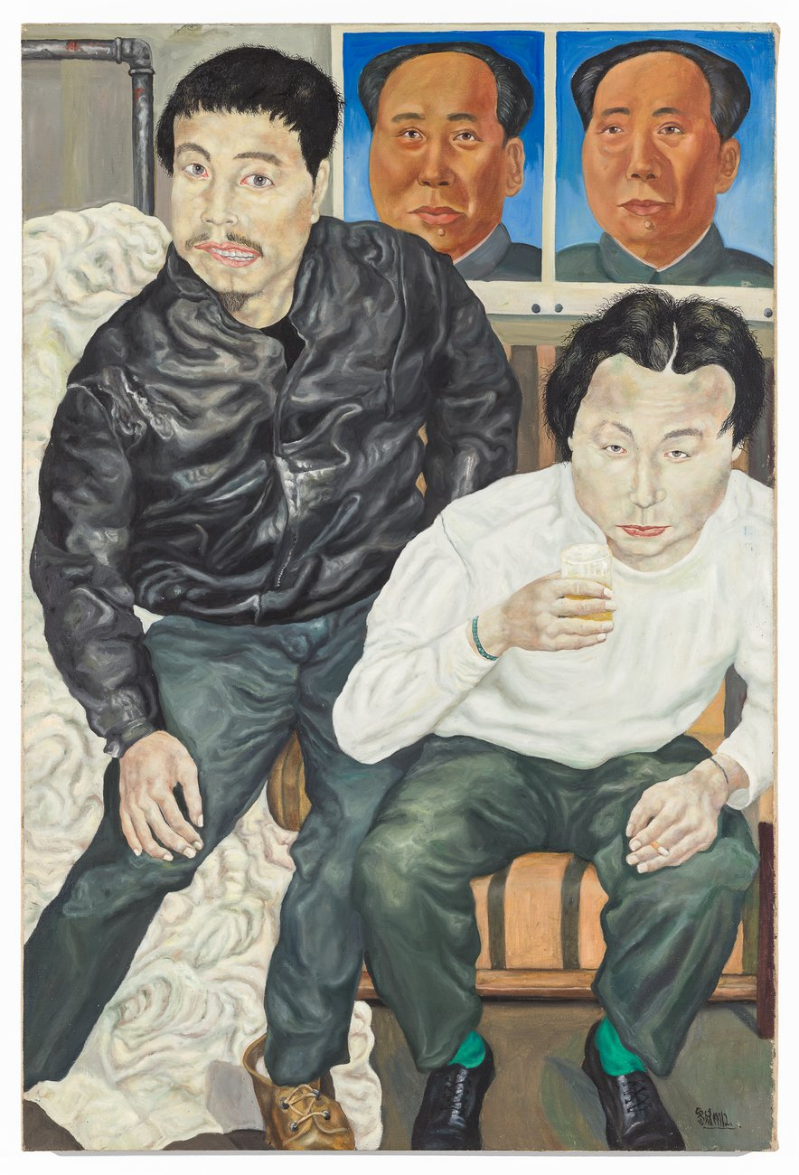 a pained portrait of two men in front of Chairman Mao