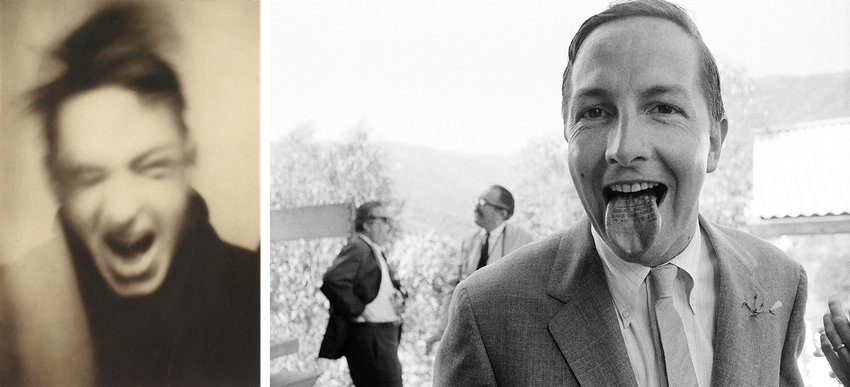 Two black and white portraits of Caucasian men, one with his face blurred, the other sticking his tongue out, Evans Rauschenberg