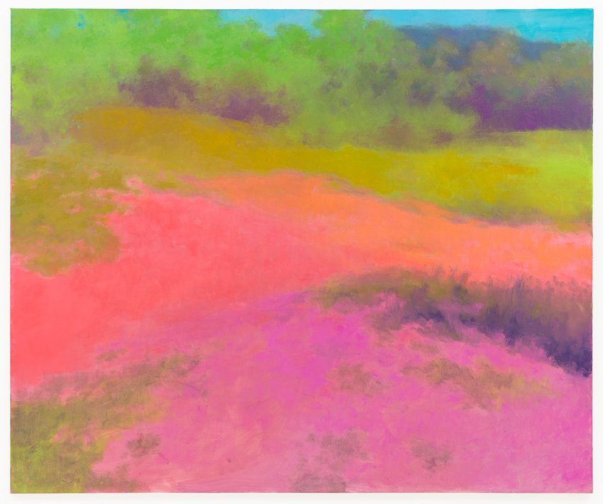 A brightly colored landscape in pinks, purples, yellows, and blue by the painter Richard Mayhew