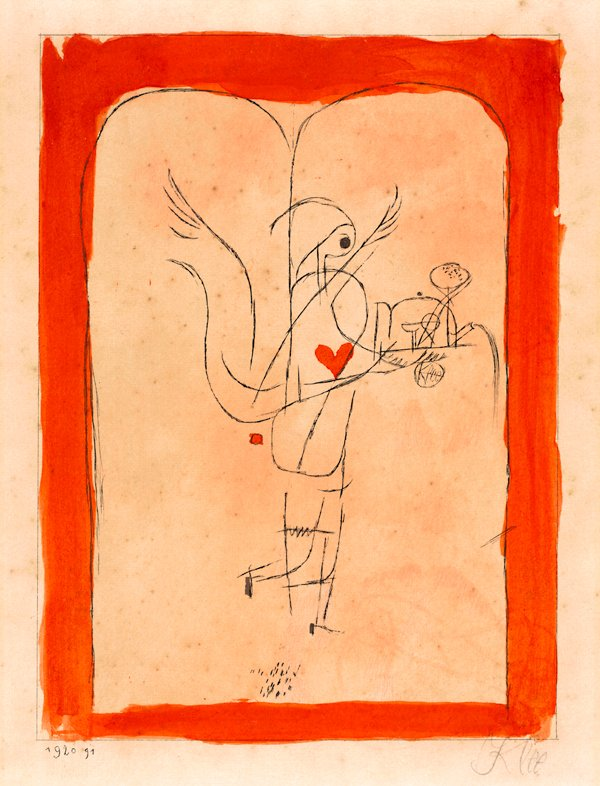 Paul Klee, print on paper of angel with red paint border