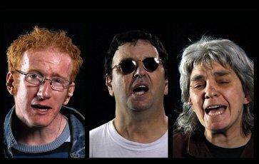 composite image of three people singing