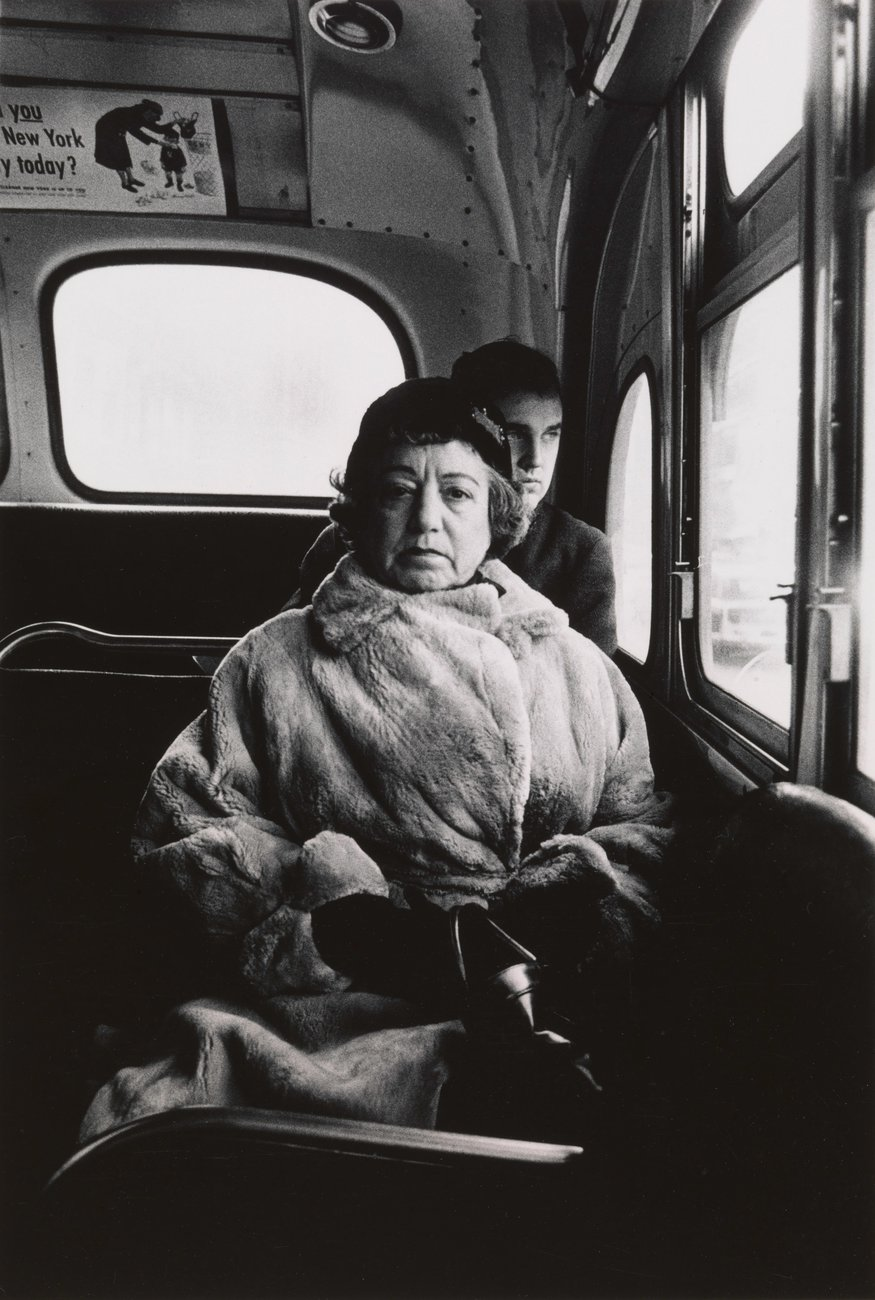 Artwork image, Diane Arbus, Lady on a bus, N.Y.C.