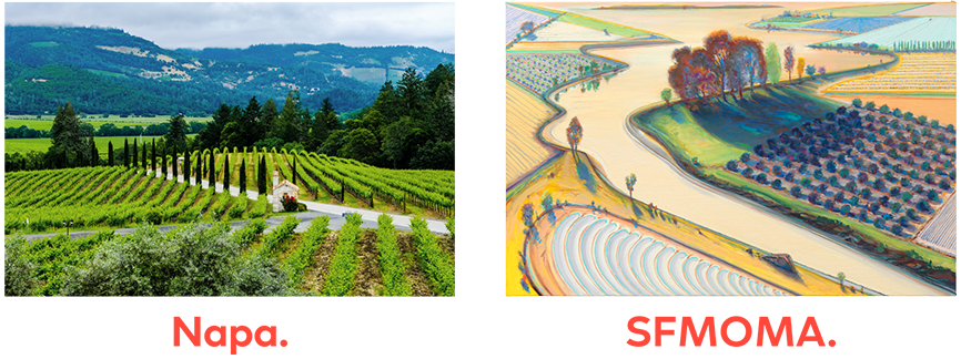 A photograph of Napa Valley next to a similar painted Wayne Thiebaud landscape