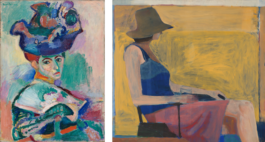 Artwork images, Matisse Femme au Chapeau and Diebenkorn Seated Figure with Hat
