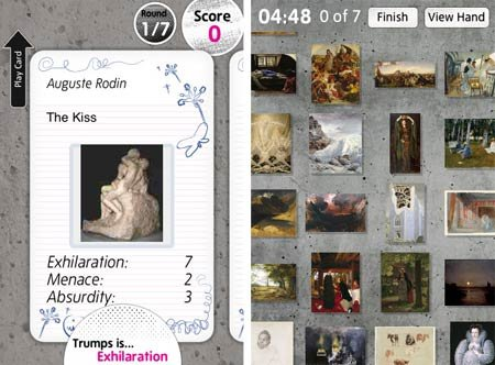 Screenshot of the Tate Trumps game showing Rodin's The Kiss