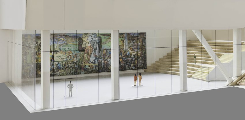 Rendering of Diego Rivera mural in the Roberts Family Gallery at SFMOMA