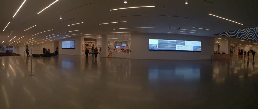 Digital story screens in Schwab Hall