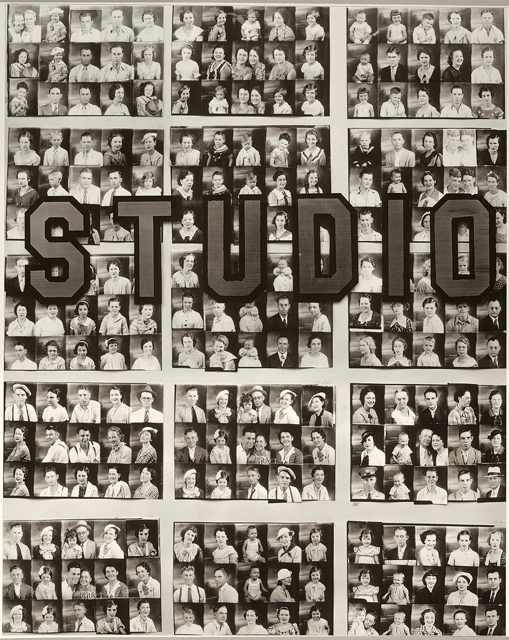 A grid of small black and white portraits overlaid with the word STUDIO in block letters