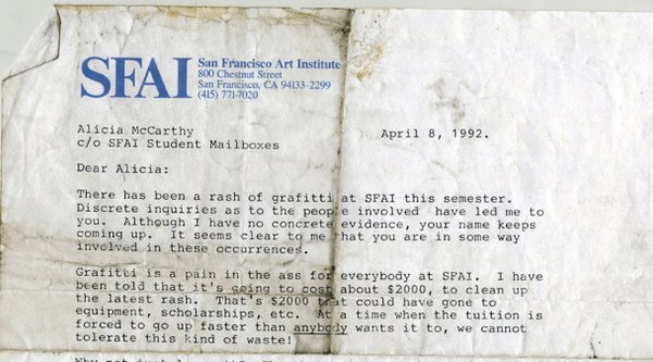 An archival letter on SFAI letter head