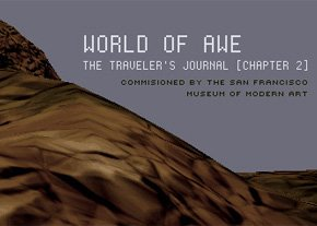 world of awe internet typeface with mountain background