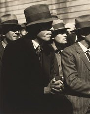 Dorothea Lange, photo of four men in hats and suits