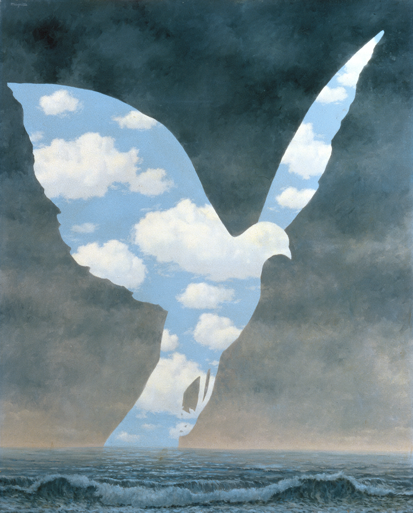 A cloudy seascape with the silhouette of a flying dove rising from the horizon to reveal blue skies