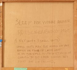Detail of verso of Robert Rauschenberg's Sleep for Yvonne Rainer (1965) showing inscription.