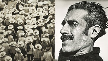 Left: group of people in hats walking from behind; Right: black and white photograph of man