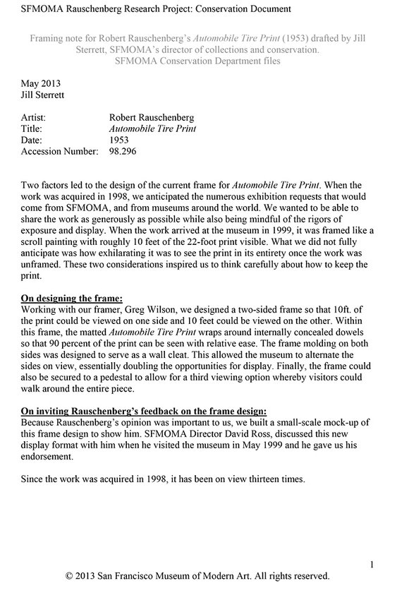 Framing note for Robert Rauschenberg\'s Automobile Tire Print