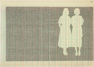 two female silhoutte cut outs on lined blue and red graph paper