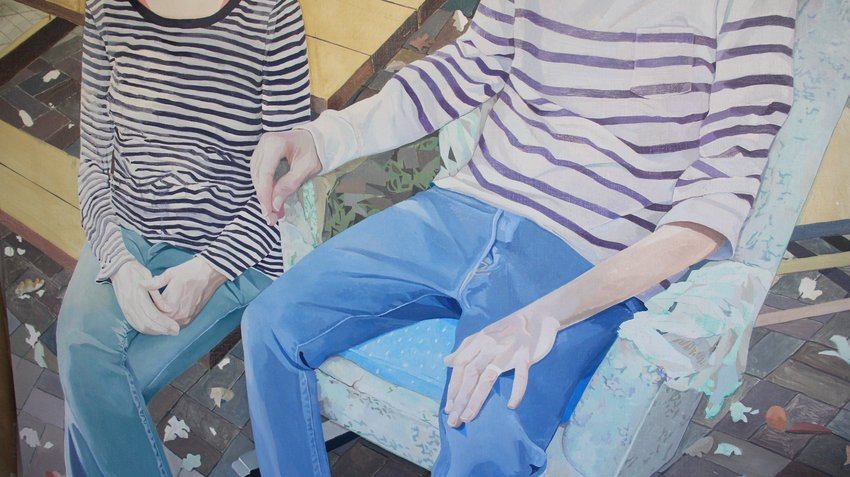 A cropped painting featuring two torsos wearing striped shirt, one sitting in a tattered chair, Collinson
