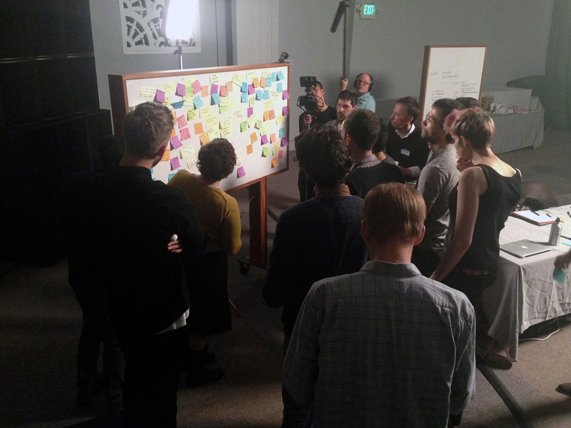 A group gathered around a whiteboard covered in colorful post-its