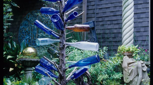 A garden with a bottle tree