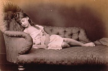 Lewis Carroll, girl sleeping on couch