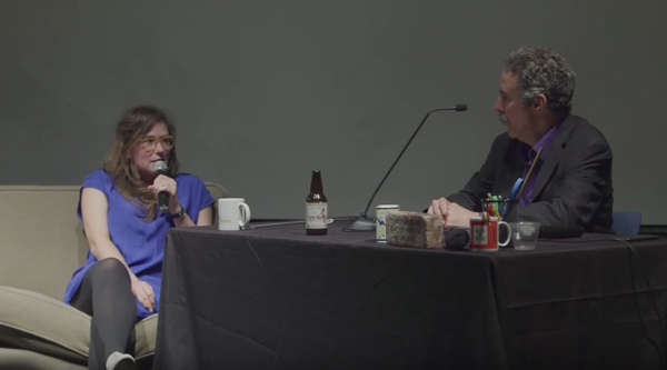 Artist Lindsey White in a conversation with comedian Ron Lynch