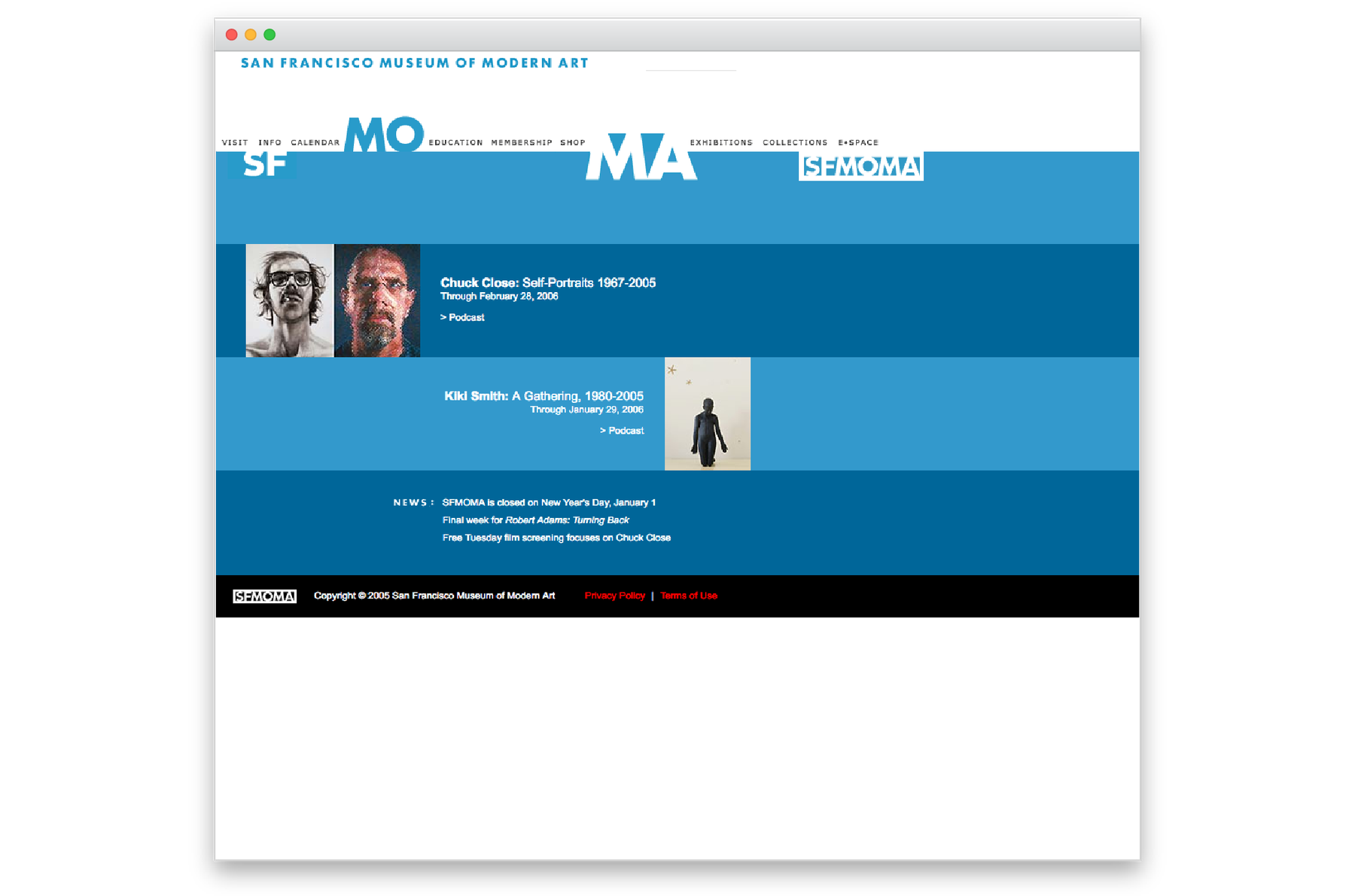 Screen of old sfmoma.org website