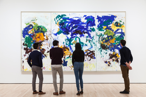 Installation view, Joan Mitchell's Bracket with people