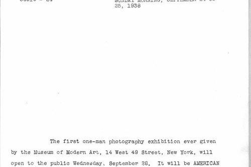 Black text on white background, a MOMA press release from 1938