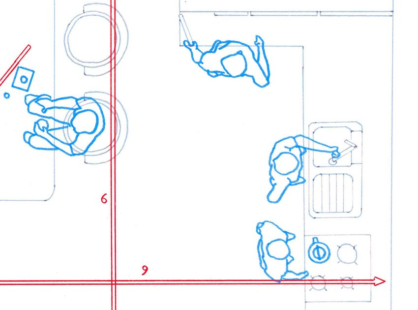 An overhead drawing of people diagrammed out in space in a kitchen, Soundtracks