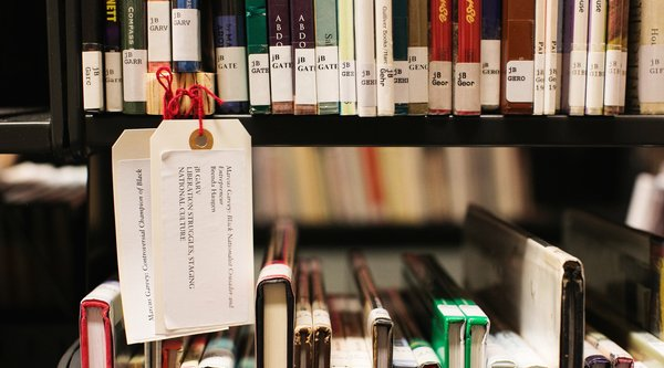 A color photography of library stacks, Public Knowledge