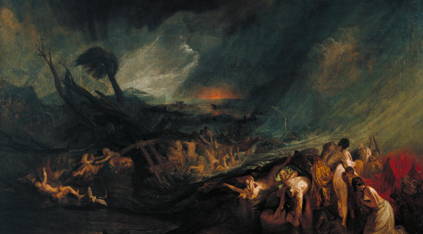 Dramatic painting of figures struggling in an apparent shipwreck in the stormy sea