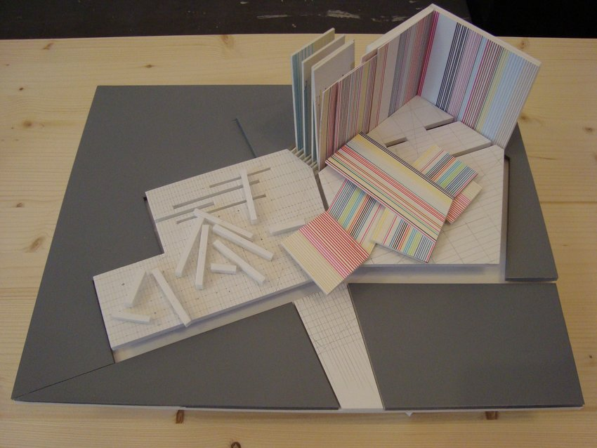 A paper architectural model in pastel stripes, Soundtracks